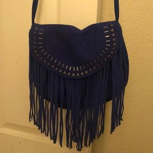 Blue Fringe Cross Body Bag/Purse